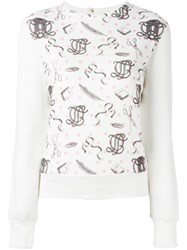 Olympia Le Tan Printed Panel Sweatshirt Nude And Neutrals