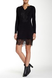 Lulu Embroidered Front Lace Hem Long Sleeve Sweater Black
