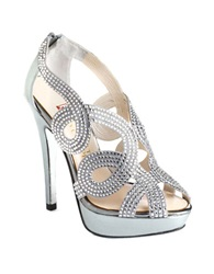 Elive From The Red Carpet Monique Embellished Peep Toe Platform Heels Mercury