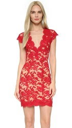 Reem Acra Lace Cocktail Dress Red