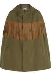 Saint Laurent Fringed Suede Trimmed Cotton And Linen Blend Twill Cape Army Green