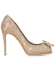 Dolce And Gabbana Embellished Lace Peep Toe Pumps Nude And Neutrals