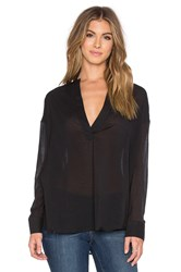 James Perse Chiffon Stretch Pullover Tunic Black