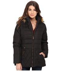 Larry Levine Short Hooded Down With Faux Leather Trim Black Women's Coat