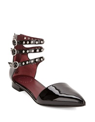 Marc By Marc Jacobs Minetta Strappy Leather Studded Flats Black