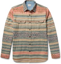 Faherty Durango Cotton Jacquard Overshirt Peach