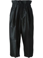 Comme Des Gara Ons Cropped Pleated Trousers Black