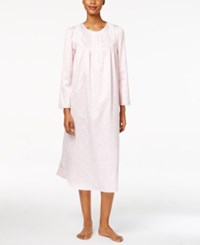 Miss Elaine Lace Trimmed Printed Nightgown Pink Cameo