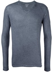 Majestic Filatures V Neck Longsleeved T Shirt Blue