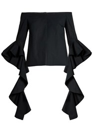 Ellery Delores Off The Shoulder Cotton Top Black