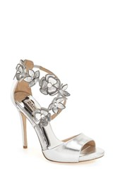 Women's Badgley Mischka 'Langley' Floral Applique Sandal 4 1 2' Heel