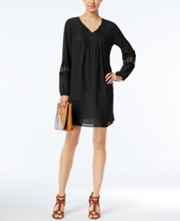 Ny Collection Petite Crochet Sleeve Peasant Dress Black