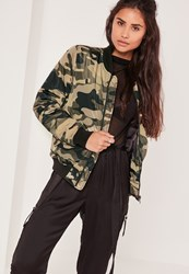 Missguided Padded Bomber Jacket Camo Green Khaki