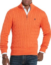 Polo Ralph Lauren Cable Knit Mockneck Sweater Coastal Orange