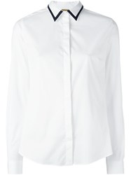 Fay Contrast Collar Shirt White