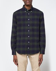 Gitman Brothers Vintage Indigo Based Flannel In Olive