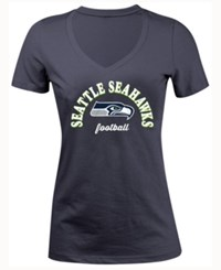5Th And Ocean Women's Seattle Seahawks Checkdown Le T Shirt Navy