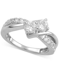Macy's Diamond Two Stone Ring 1 Ct. T.W. In 14K White Gold