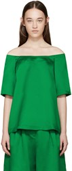 Edit Green Satin Off The Shoulder Top