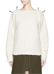 Toga Archives Faux Leather Ribbon Knit Sweater White