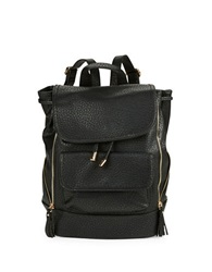 Kensie Zip Accent Faux Leather Backpack Black