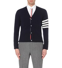 Thom Browne Striped Detail Cashmere Cardigan Navy Winter White