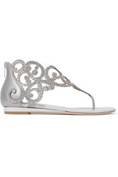Rene Caovilla Moonlight Crystal Embellished Metallic Leather Wedge Sandals Silver