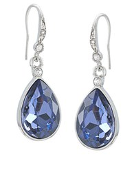 Carolee Silvertone And Royal Blue Teardrop Earrings Grey