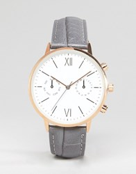 Asos Large Face Croc Strap Watch With Rose Gold Detail Grey