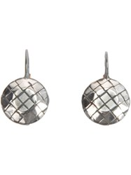Bottega Veneta Intrecciato Earrings Metallic
