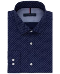 Tommy Hilfiger Men's Slim Fit Blue Print Dress Shirt