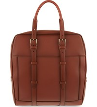 Brioni Structured Leather Tote Cognac