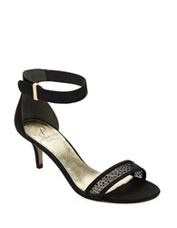 Adrianna Papell Avril Leather Open Toe Sandals Black