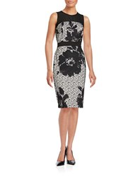 Gabby Skye Floral Lace Sheath Dress Ivory Black