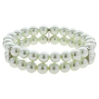 Finesse Double Strand Glass Faux Pearl Stretch Bracelet White