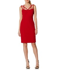 Laundry By Shelli Segal Solid Strappy Sheath Dress Red