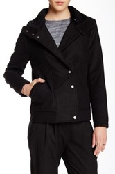 Shades Of Grey High Collared Car Faux Fur Trim Wool Blend Coat Black