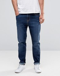 Asos Relaxed Tapered In Dark Wash Dark Blue