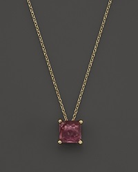 Ippolita Rock Candy 18K Gold Mini Single Square Stone Sliding Pendant Necklace In Pink Tourmaline 16