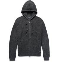 Polo Ralph Lauren Waffle Knit Merino Wool Zip Up Hoodie Dark Gray