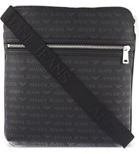 Armani Jeans Grained Tablet Messenger Bag Black