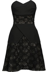 Roland Mouret Harris Embroidered Crepe Peplum Dress Black