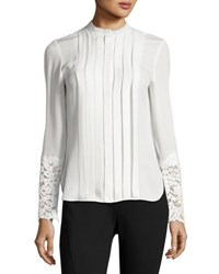 Elie Tahari Nicola Lace Trim Pleated Silk Blouse Antique White