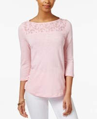 American Living Lace Inset Top Only At Macy's Vintage Blush