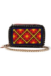 Christian Louboutin Piloutin Embellished Leather Clutch Black Red