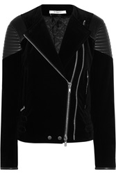 Givenchy Black Velvet Jacket With Quilted Leather Details On The Shoulders