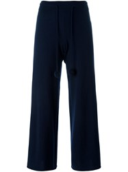 Victoria Beckham Pompom Detail Cropped Trousers Blue