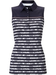 Callaway Lace Stripe Sleeveless Polo Navy