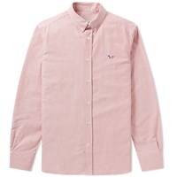 Maison Kitsune Button Down Classic Tricolour Fox Oxford Shirt Red