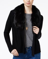 Amy Byer Bcx Juniors' Faux Fur Trim Cardigan Black